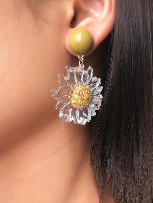 Transparent Sunflower Drop Earrings