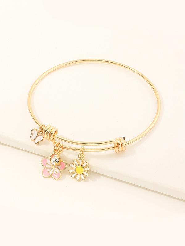Floral Butterfly Rhinestone Adjustable Bangle Bracelets