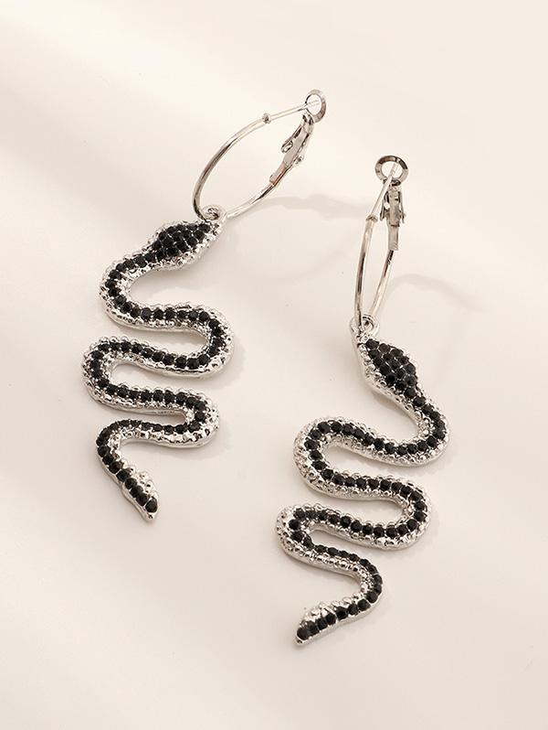 Rhinestone Snake Drop Earrings