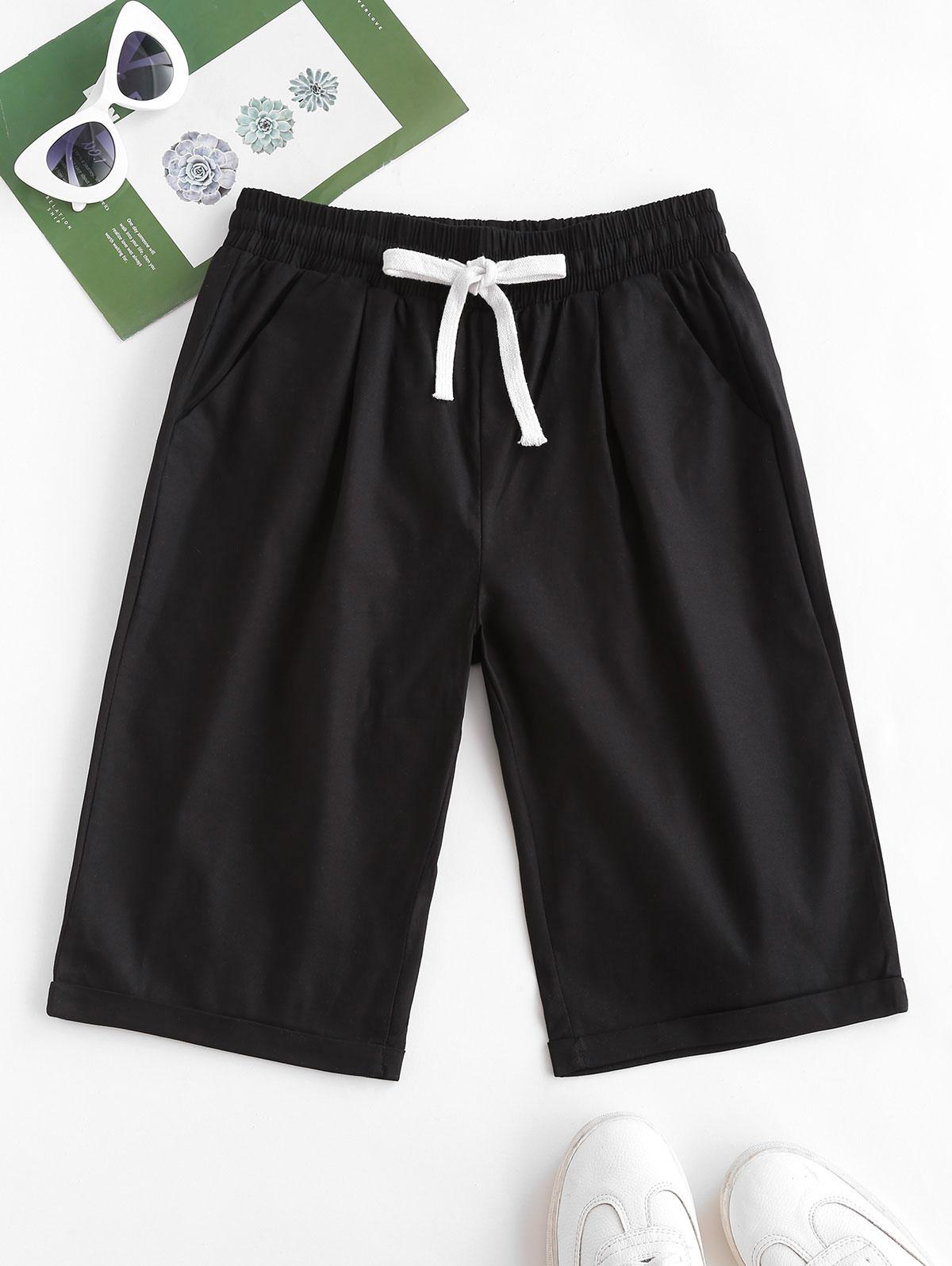 Drawstring Pocket Rolled Cuff Shorts