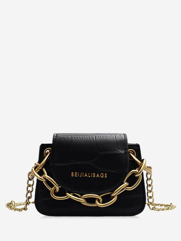Animal Embossed Metal Chain Mini Flap Crossbody Bag
