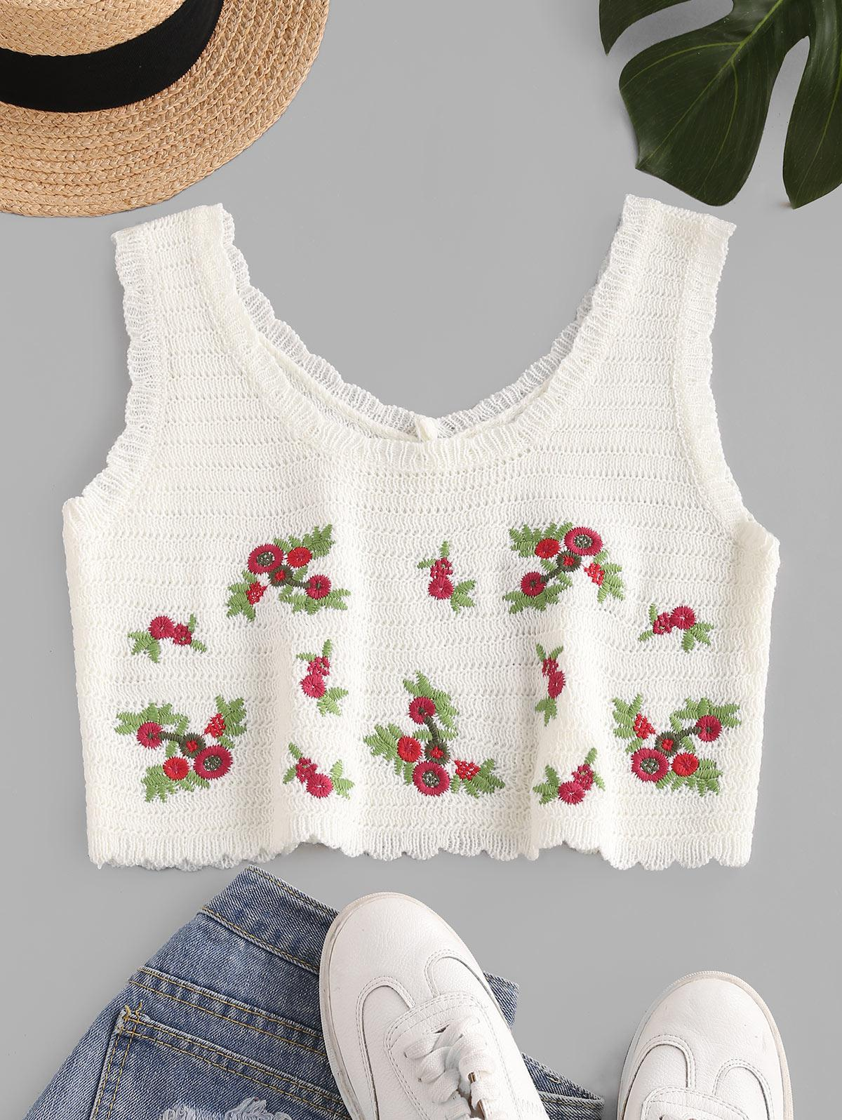 Flower Embroidered Scalloped Crop Knit Tank Top