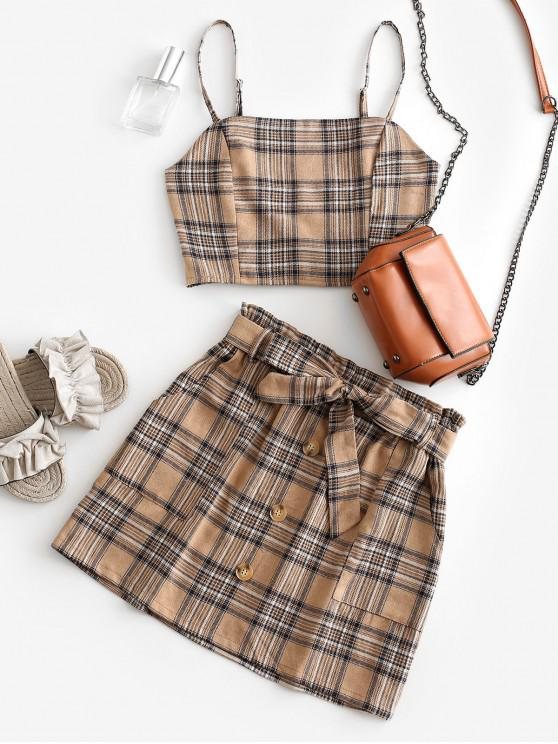 fashion Plaid Smocked Buttons Belted Two Piece Suit - LIGHT KHAKI S