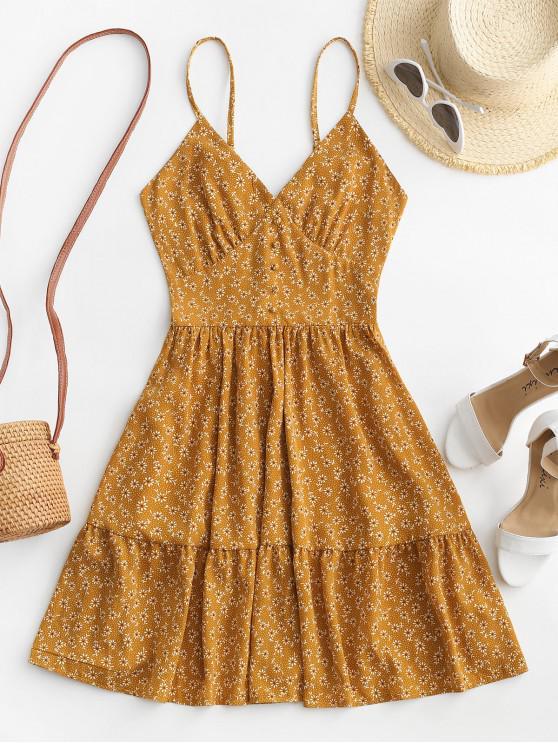 fashion ZAFUL Ditsy Floral Smocked Back Cami Mini Dress - DEEP YELLOW L
