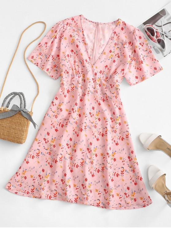 ladies Ditsy Floral A Line Plunge Tea Dress - LIGHT PINK S