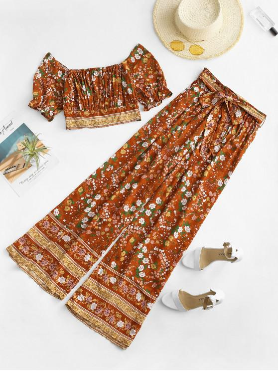 affordable Ditsy Floral Smocked Top and Wide Leg Pants Set - COFFEE M
