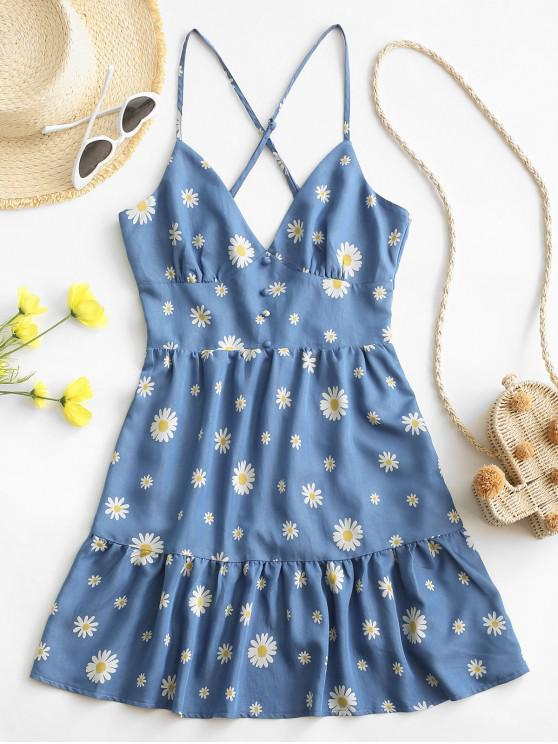 trendy ZAFUL Daisy Print Criss Cross Flounce Hem Backless Dress - BLUE L