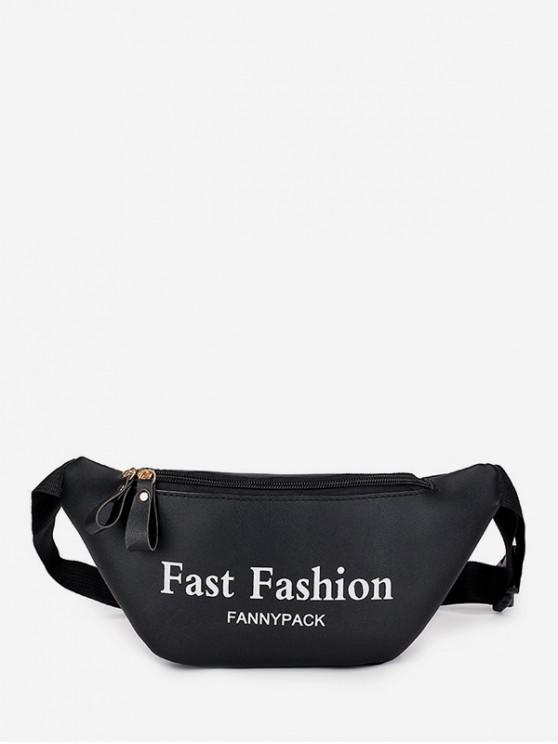 buy Letter Pattern Sports Waist Bag - BLACK