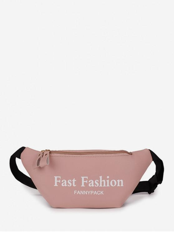 womens Letter Pattern Sports Waist Bag - LIGHT PINK