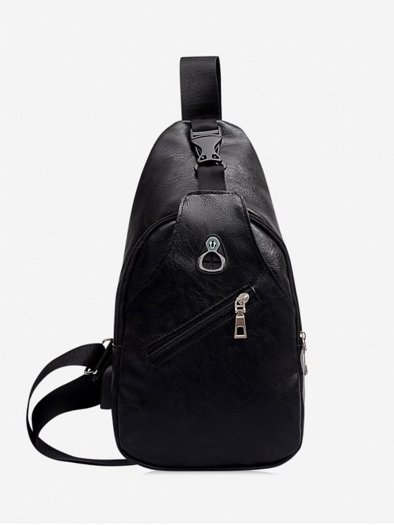 Retro Zipper PU Crossbody Bag - أسود