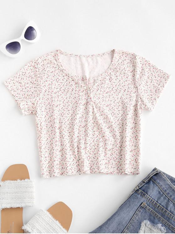 affordable Ditsy Print Crop Henley T-shirt - LIGHT PINK S