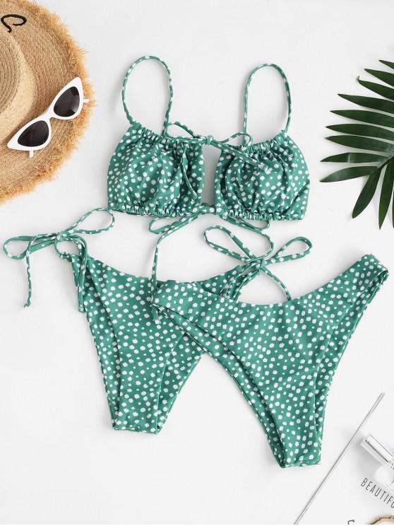 lady ZAFUL Ditsy Print Cutout High Leg Three Piece Bikini Swimwear - GREEN L