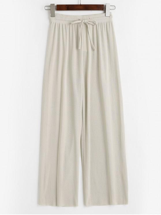 fancy Drawstring Raw Hem Wide Leg Jersey Pants - LIGHT COFFEE M