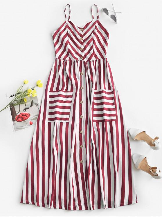 affordable Striped Button Through Pocket Cami Dress - DEEP RED M