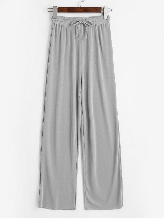 Pantalon en Jersey Jambe Large à Ourlet Brut à Cordon - Gris 2XL