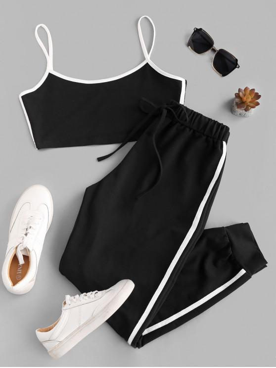 outfit Sports Contrast Tape Cropped Track Set - BLACK S