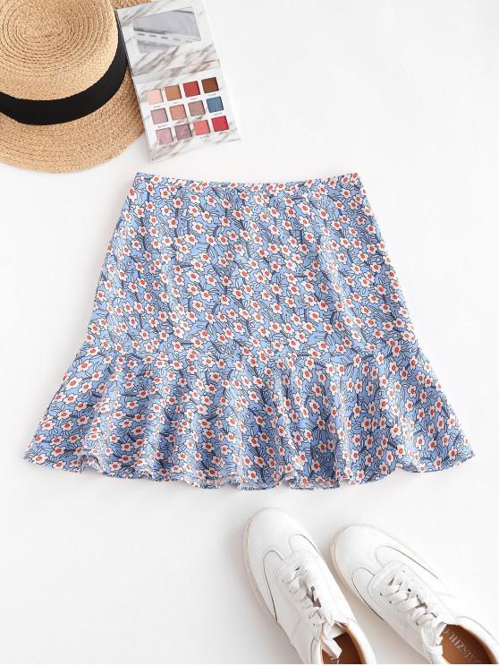 women's Flower Mini Mermaid Skirt - LIGHT BLUE M