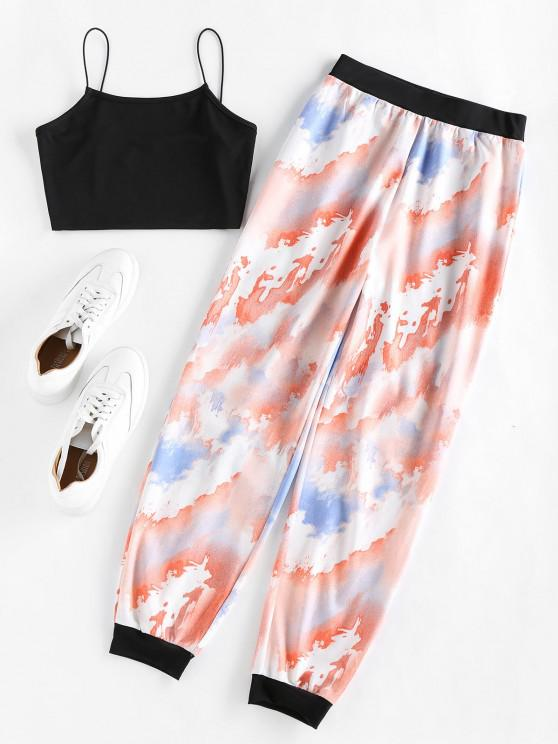 trendy ZAFUL Cropped Camisole and Tie Dye Pants Set - MULTI L