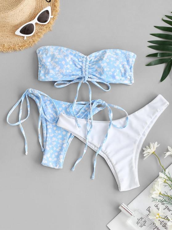 buy ZAFUL Cinched Flower Bandeau Three Piece Bikini Swimwear - LIGHT BLUE M
