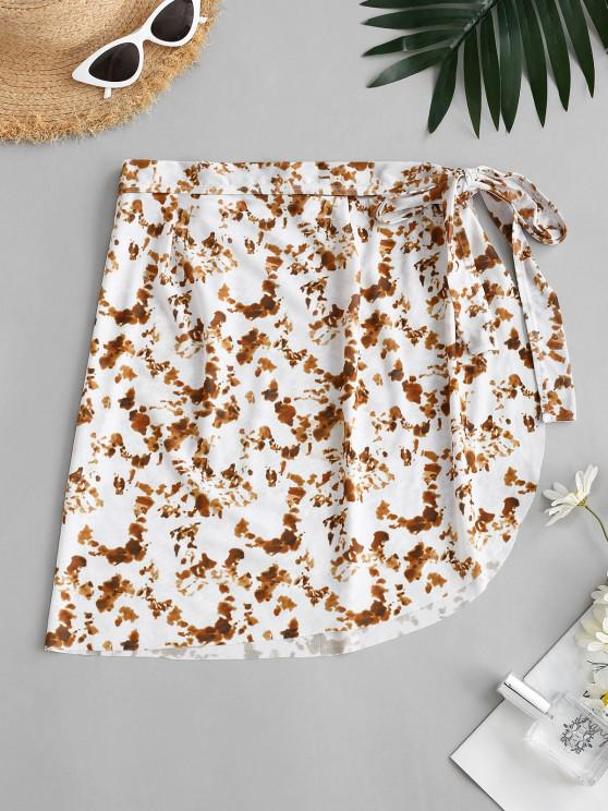 buy ZAFUL Tie Dye Mesh Wrap Beach Skirt - COFFEE L