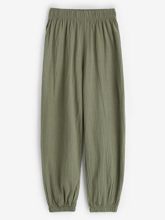 online Elasticated Cuffs Pull On Pants - GREEN L
