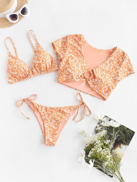 chic ZAFUL Floral Ring Reversible Three Piece Swimsuit - SANDY BROWN M