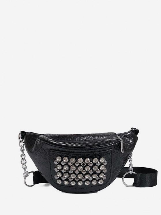 women's Rhinestone Studded Leather Chest Bag - BLACK