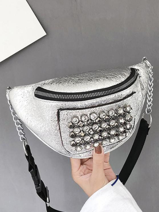 Rhinestone Studded Leather Chest Bag - فضة
