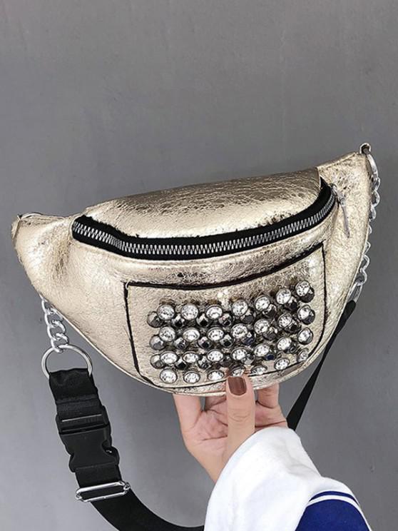 lady Rhinestone Studded Leather Chest Bag - GOLDEN