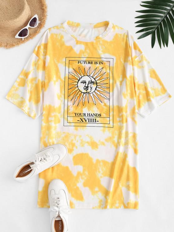 trendy Tie Dye Sun Pattern Drop Shoulder Tee Dress - YELLOW M