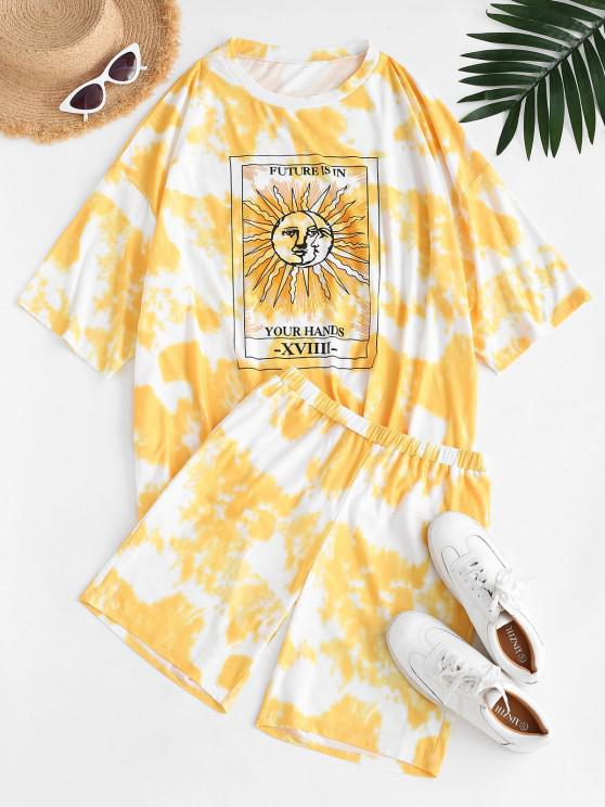 women's Tie Dye Sun Print Drop Shoulder T-shirt and Shorts Set - YELLOW S