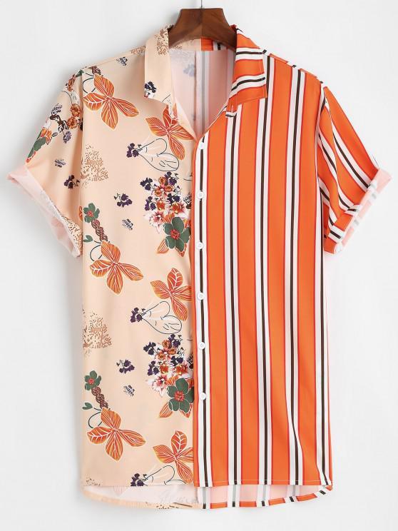 Chemise de Vacances Rayée Fleur Imprimée - Orange Foncé M