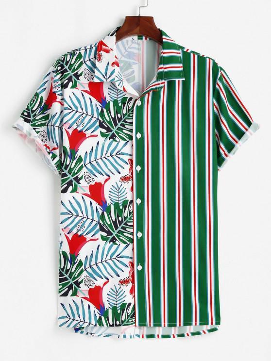 unique Tropical Leaf Stripes Print Vacation Shirt - GREEN M