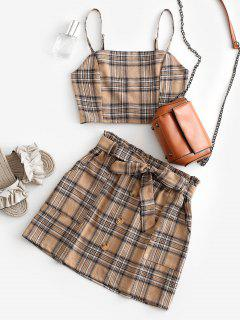 Plaid Smocked Buttons Belted Two Piece Suit - Light Khaki S
