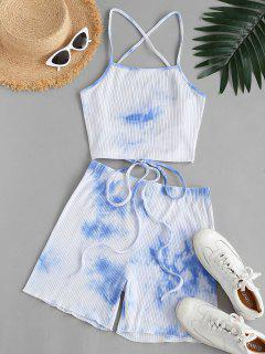 Ribbed Tie Dye Lace-up Two Piece Shorts Set - Light Blue Xl