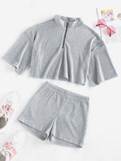 ZAFUL Half Zip Ribbed Knit Two Piece Shorts Set - Light Gray M