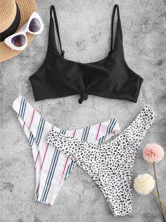ZAFUL Leopard Striped Knotted Three Pieces Bikini Swimsuit - White L
