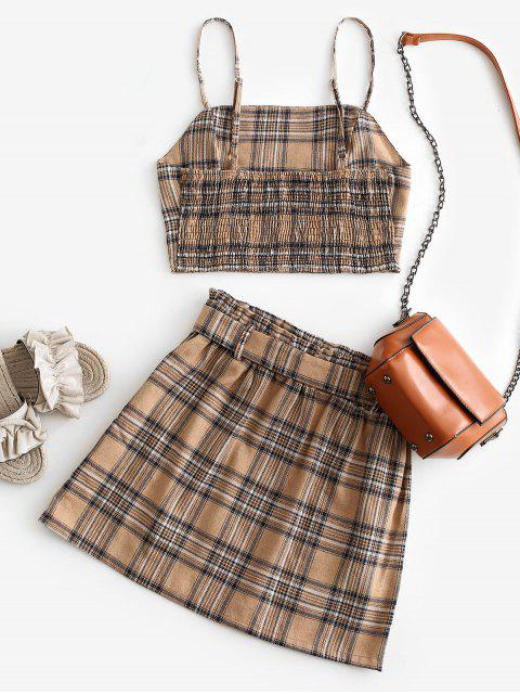 women Plaid Smocked Buttons Belted Two Piece Suit - LIGHT KHAKI XL Mobile