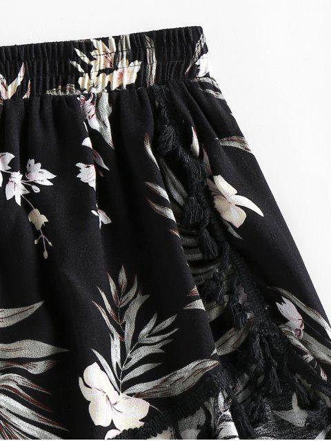 buy ZAFUL Floral Tassels Dolphin Shorts - BLACK L Mobile