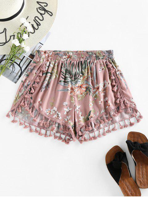 best ZAFUL Floral Tassels Dolphin Shorts - PINK ROSE L Mobile
