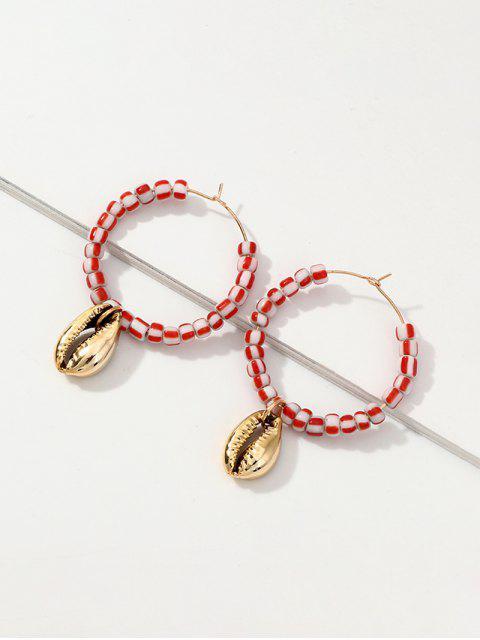 chic Cowrie Shell Beaded Hoop Earrings - MULTI-A  Mobile