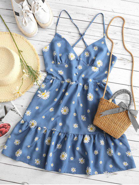 ZAFUL Kreuzes und Queres Gänseblümchendruck Rückenfreies Kleid mit Volantsaum - Blau S Mobile