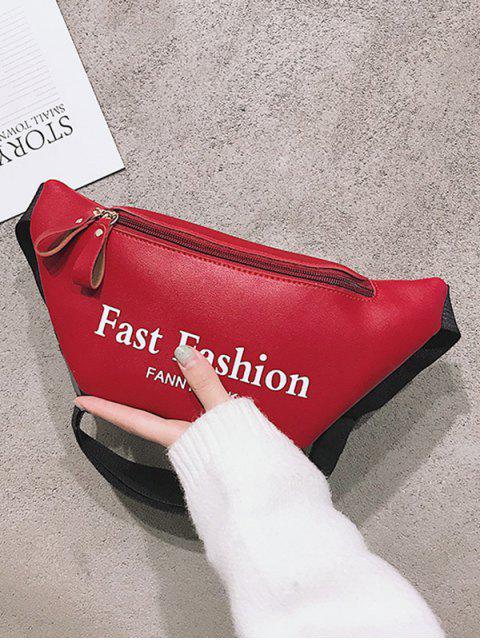 women Letter Pattern Sports Waist Bag - RED  Mobile