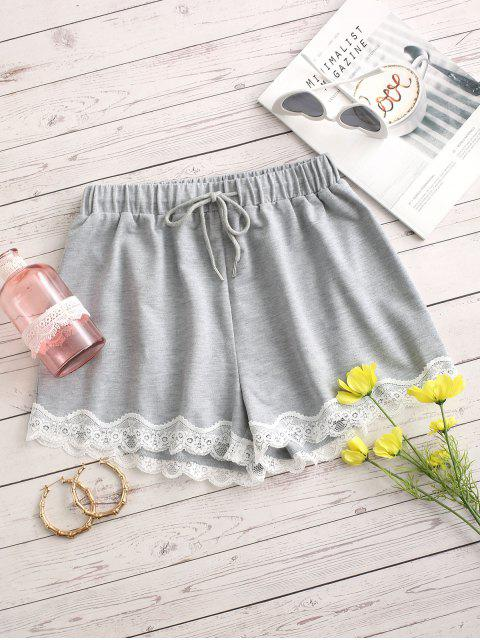 shops ZAFUL Lace Insert Drawstring Loose Shorts - LIGHT GRAY M Mobile
