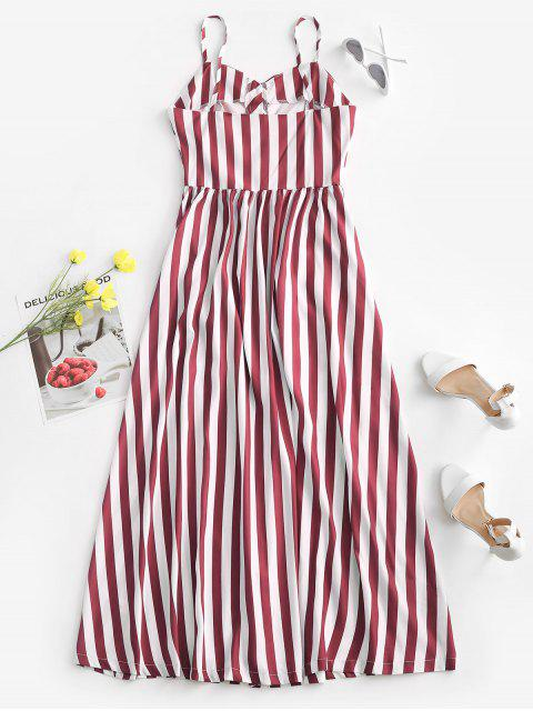 affordable Striped Button Through Pocket Cami Dress - DEEP RED M Mobile
