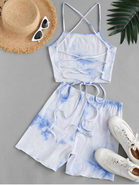 fancy Ribbed Tie Dye Lace-up Two Piece Shorts Set - LIGHT BLUE XL Mobile