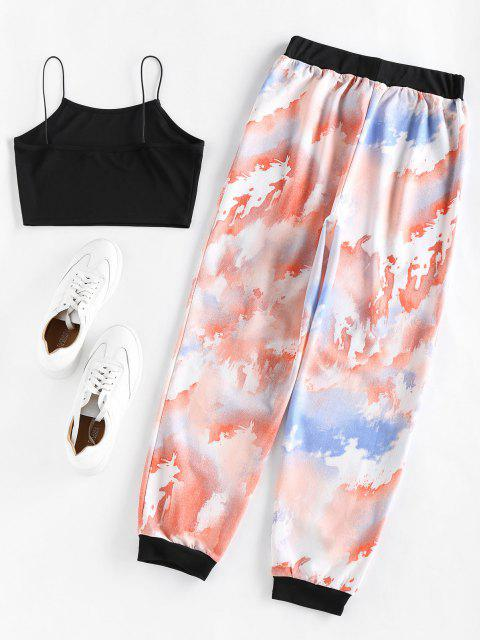 trendy ZAFUL Cropped Camisole and Tie Dye Pants Set - MULTI L Mobile