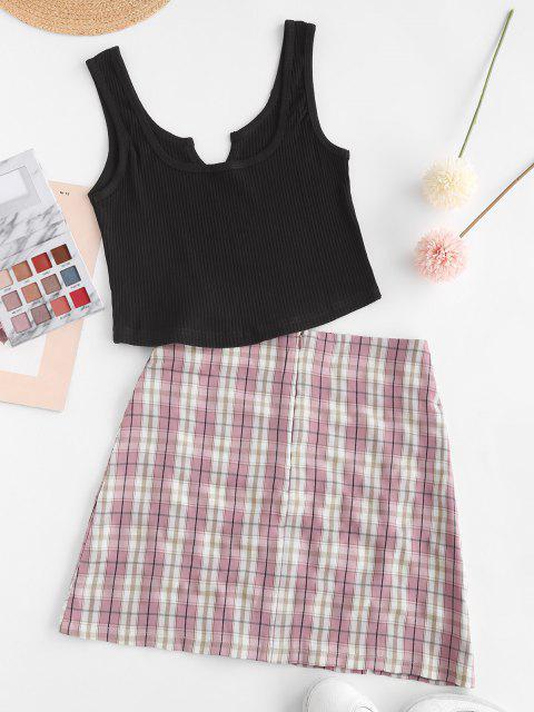 affordable Ribbed Plaid Slit Notched Mini Skirt Set - LIGHT PINK L Mobile