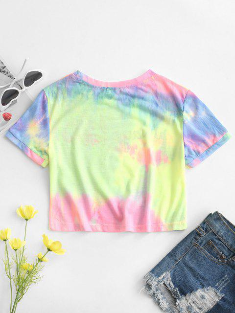 chic Tie Dye Always Late Graphic Tee - GREEN L Mobile