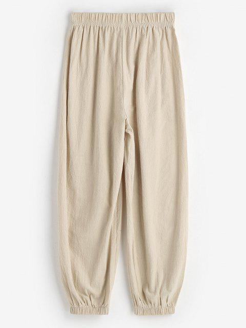 hot Elasticated Cuffs Pull On Pants - LIGHT COFFEE M Mobile